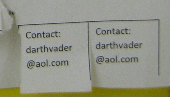 Contact: darthvader@aol.com