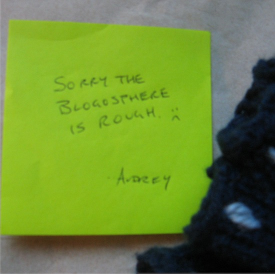 "Note with text: ""Sorry the blogosphere is rough. : (   Audrey."""